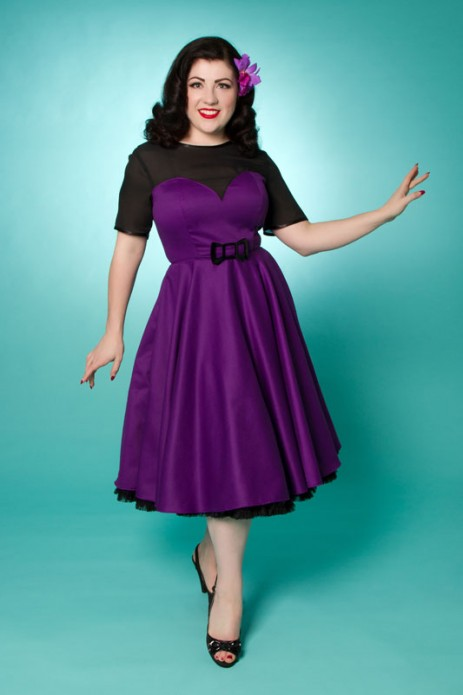 Betty Bow Swing Dress - Purple