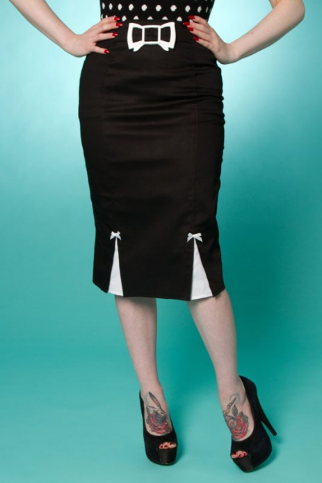 Betty Bow Pencil Skirt - Black/White