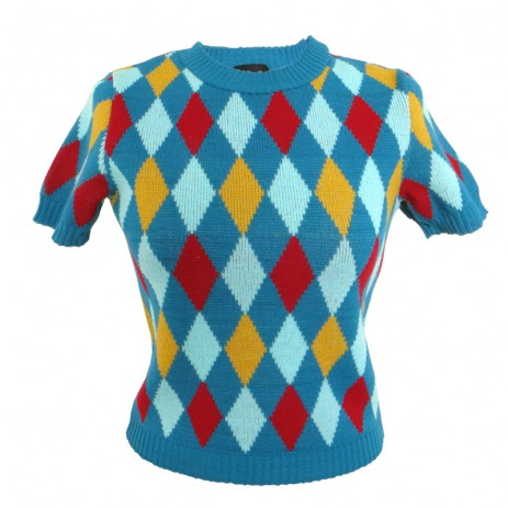 Bobbie Jumper - Harlequin - Kingfisher Blue