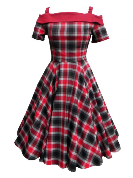 Carrie Swing Dress - Red/Grey Tartan
