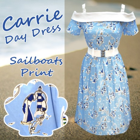 Carrie Day Dress - Sailboats