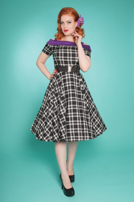 Carrie Swing Dress - Black/Purple Tartan