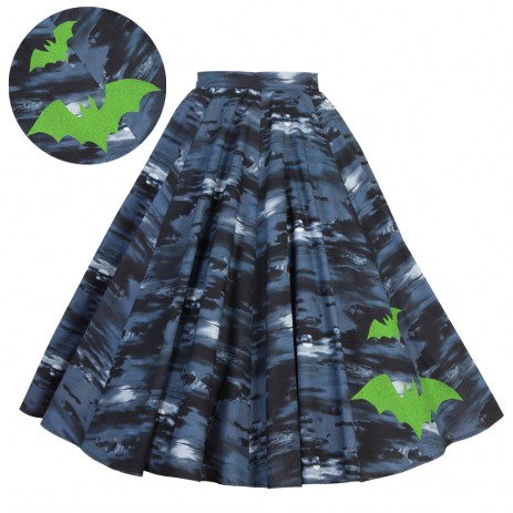 Circle Skirt - Flight of the Bats - Green