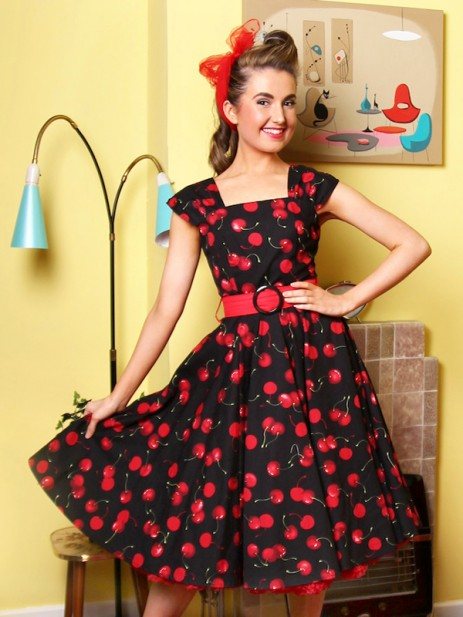 Lady Luck Swing Dress - Classic Cherry