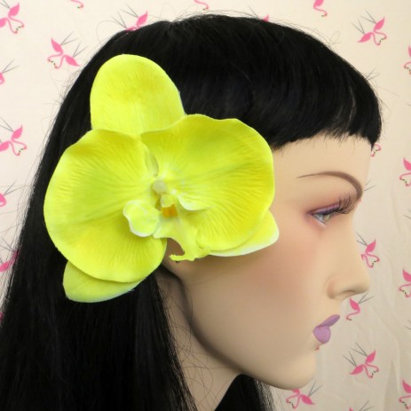 Flat Orchid Hair Flower - Yellow - by Miss Fortune