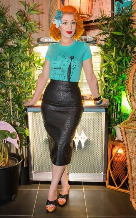 Wiggle Skirt - Black Leoaprd