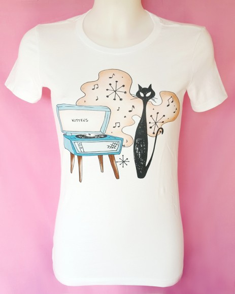 Hip Kitty Tee - White - by Kittees