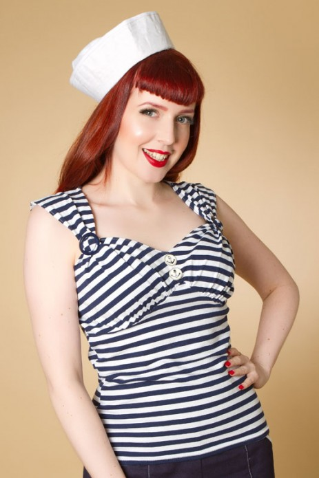 Sun Top - Navy Stripe