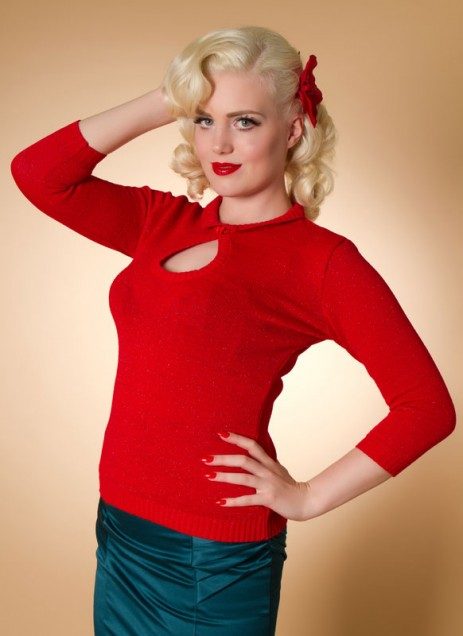 Peek-A-Boo Lurex Top - Red