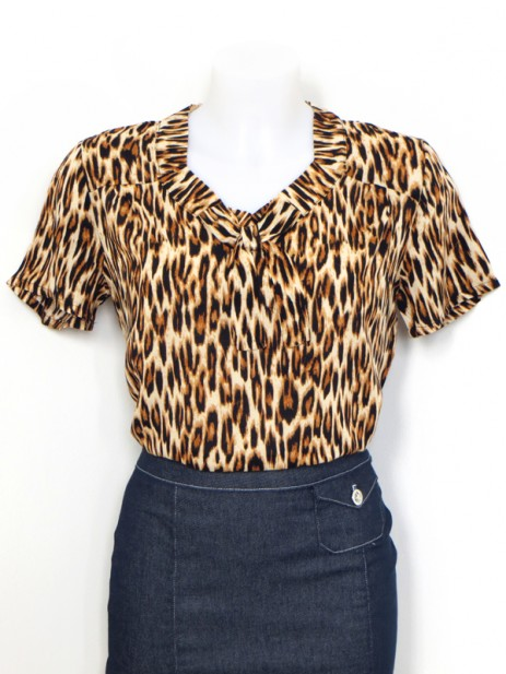 Polly Blouse - Leopard