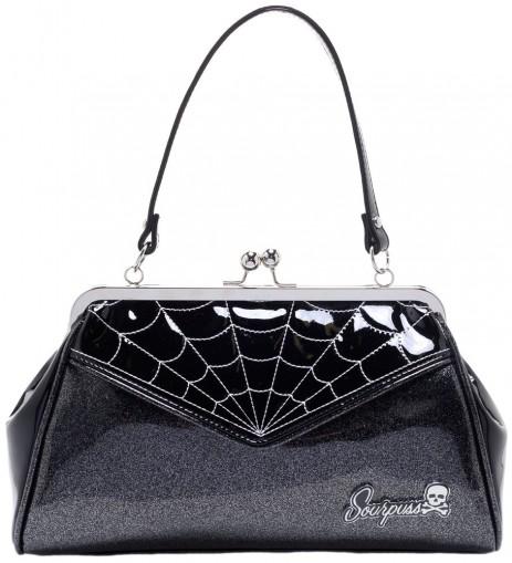 Backseat Baby Purse - Spiderweb - Black/Silver - by Sourpuss