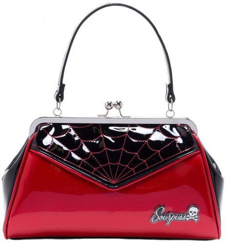 Backseat Baby Purse - Spiderweb - Red - by Sourpuss