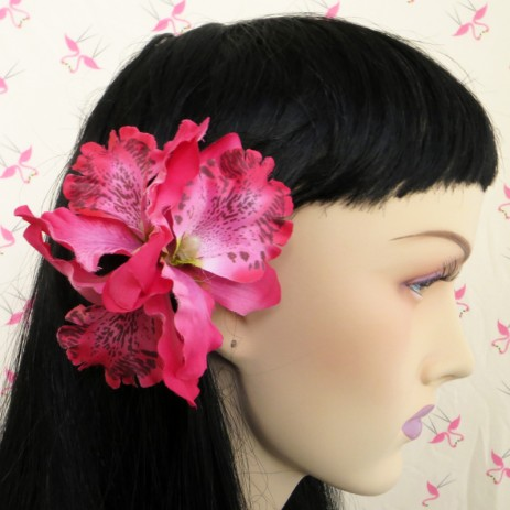 Triple Orchid Hair Flower - Cerise - by Miss Fortune