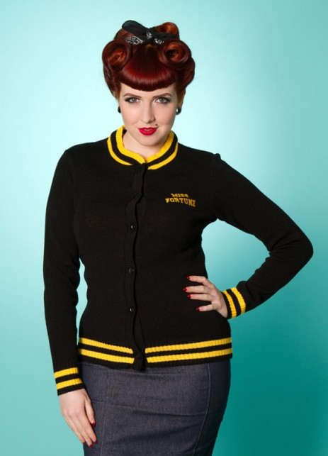 Varsity Cardigan - Black/Yellow