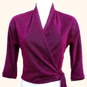 Wrap Top - Midnight Pink Lurex