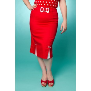 Betty Bow Pencil Skirt - Red