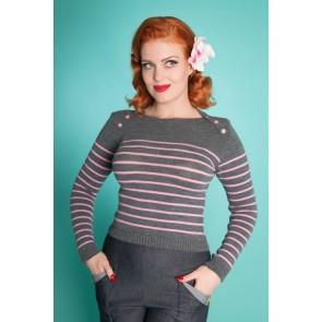 Breton Stripe Jumper - Grey/Pink