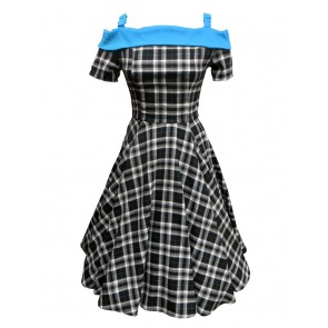 Carrie Swing Dress - Black/Turquoise Tartan
