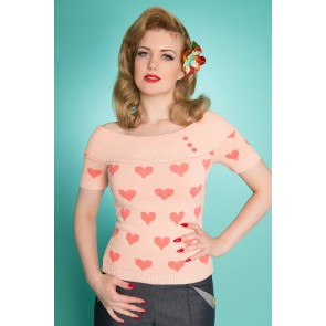 Cupid's Girl - Off The Shoulder Top - Peach/Coral