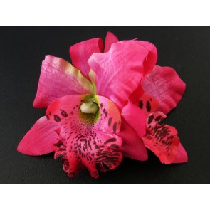 Mini Double Orchid Hair Flower - Cerise - by Miss Fortune