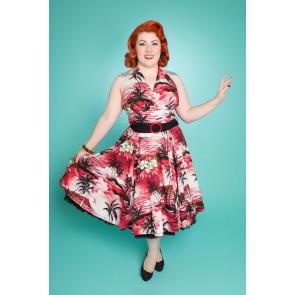 Lola Swing Dress - Red/Black Hawaiian