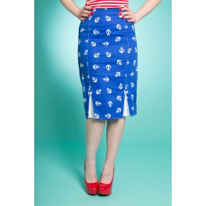 Nautical Pencil Skirt - Anchors