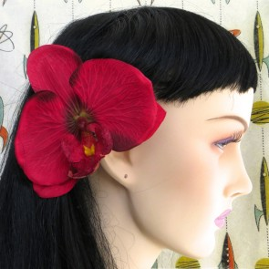 Lux Flat Orchid Hair Flower - Rich Red - by Miss Fortune