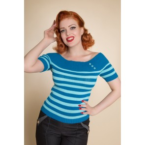 Scarlett Top - Turquoise Stripes