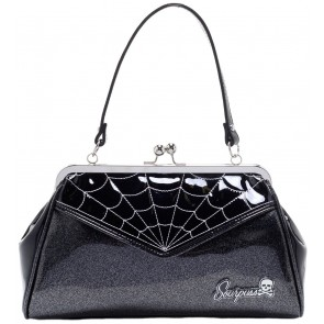 Backseat Baby Purse - Spiderweb - Black/Silver - by Sourpuss
