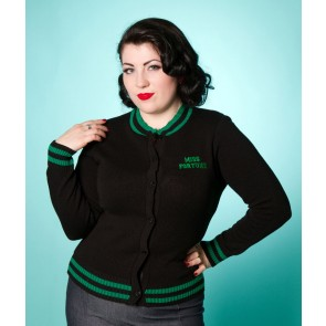 Varsity Cardigan - Black/Green