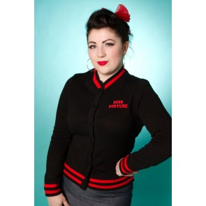 Varsity Cardigan - Black/Red