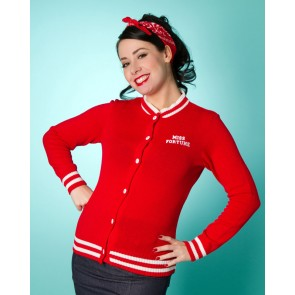 Varsity Cardigan - Red/White