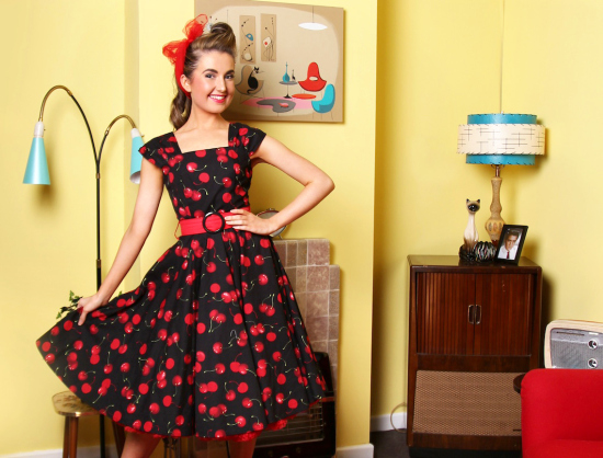 Lady Luck Swing Dress - Cherry