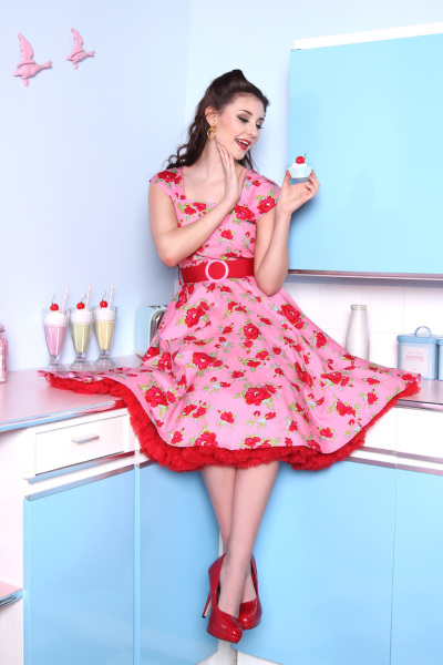 Miss Fortune Pink Rose Lady Luck Dress