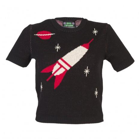 Bobbie Jumper - Space Age - Short Sleeve - Black/Red