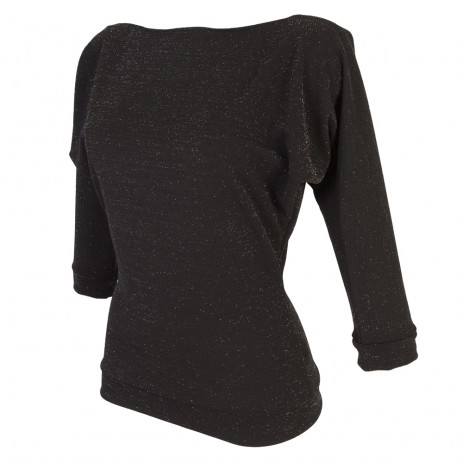 Kitty Batwing Top - Black with Silver Lurex