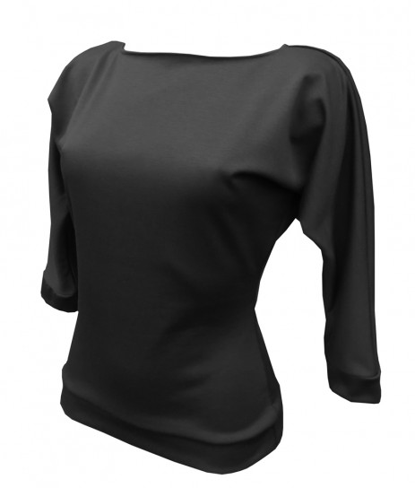 Kitty Batwing Top - Plain Black