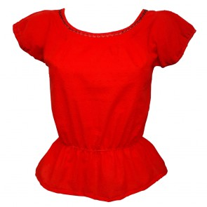 Peasant Top - Swiss Dot Red
