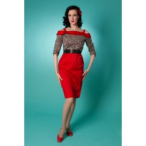 Carrie Wiggle Dress - Red Leopard
