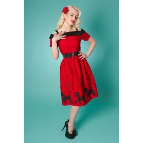Carrie Day Dress - Poodle - Red
