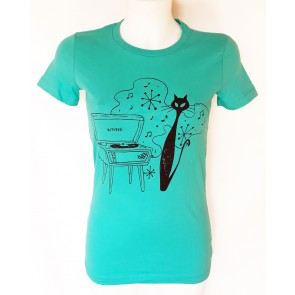 Hip Kitty Tee - Blue - by Kittees