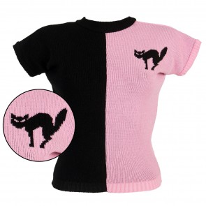 PREORDER Daphne Jumper - Two Tone Scaredy Cat - Black/Pink