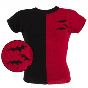 Daphne Jumper - Two Tone Bats - Black/Red