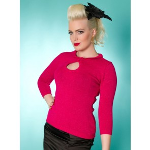 Peek-A-Boo Lurex Top - Cerise