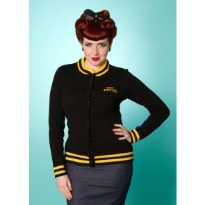 Varsity Cardigan - Black/Yellow