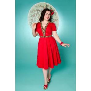 Zara Dress - Red/Leopard